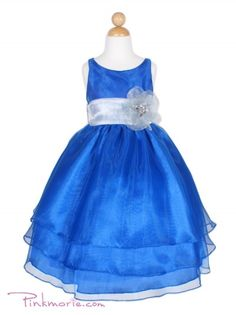 Royal Blue and Silver Organza Flower Girl Dress