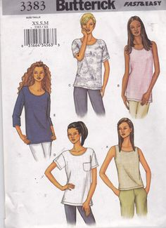 Butterick 3383 Vintage Pattern Womens  Pullover Top In 5 Variations Size X Sm, Sm, Med UNCUT