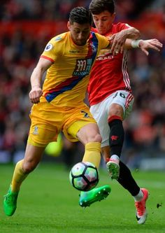 Manchester United's English midfielder Josh Harrop battles with Crystal Palace's English defender Joel Ward plays during the English Premier League. Joel Ward, English Premier League, Crystal Palace, Manchester United, Plays, The Unit, Football, Games, Soccer