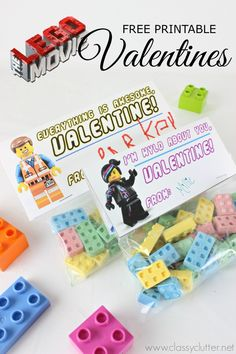 Lego Valentines with a Free Lego Movie Printable - Click for printable and tutorial.