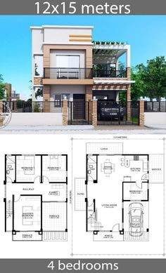 Dream house plans: House Plans with 4 bedrooms - Home Ideassearch House Plans Mansion, House Layout Plans, Duplex House Plans, Family House Plans, Dream House Plans, House Layouts, Two Story House Design, 2 Storey House Design, Bungalow House Design