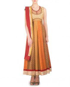 Printed Beige and Orange Sleeveless Anarkali Suit