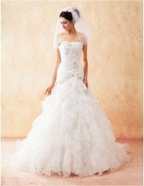 Gorgeous strapless elongated bodice lace appliques swarovski  beaded layered ruffles skirt fit and flare sweeping train quinceanera prom wedding dress 5W-065
