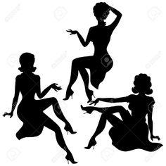 Three women silhouette
