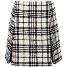 Carven Tartan Wool Pleat Mini Skirt ($485) ❤ liked on Polyvore featuring skirts, mini skirts, bottoms, multi, plaid pleated skirt, pleated mini skirt, high waisted plaid skirt, wool mini skirt and plaid mini skirt