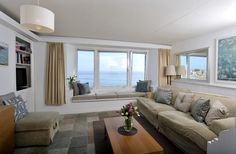 St Ives cottage rental - Men an Mor Cottage - View from kitchen, through living room out to sea