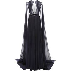 Naeem Khan Gown with Attached Cape ($4,990) ❤ liked on Polyvore featuring dresses, gowns, long dresses, naeem khan, navy blue gown, long blue dress, navy gown, navy blue dress and silk gown