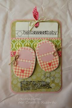"Baby card--cute ""punched"" shoes"