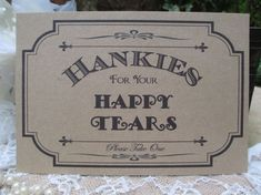 Hankies for your Happy Tears Vintage Style recycled card poster sign