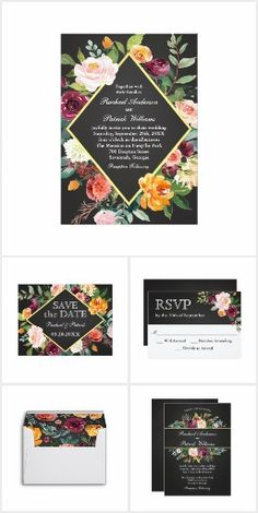 Rustic Fall Floral Chalkboard Wedding. This wedding invitation suite was designed especially for fall or winter weddings. The dark chalkboard background contrasts beautifully with vibrant fall flowers in watercolor hues of burgundy, pink, orange and white with greenery accents #Ad