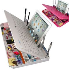 6 in ONE Bluetooth Keyboard With Organizer and Phone/Tablet Stand