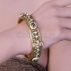 Enticing Gold Plated Polki And Crystal Studded Bangles