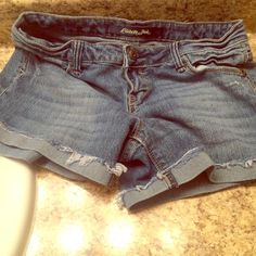 WOW! Celebrity Pink jean shorts Blue denim with distressed edging, and whiskers. EUC Inseam is 3 1/2 inchesShorts are purposely made distressed. Barely ever wornJust a little large for me. Thanks for looking! Celebrity Pink Shorts Jean Shorts