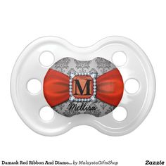 Damask Red Ribbon And Diamond Monogram And Name BooginHead Pacifier