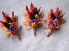 Autumn Haloween dried flower boutonniere set 6  by FlowerDecoupage