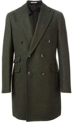 $1,185, Olive Overcoat: Boglioli Double Breasted Coat. Sold by farfetch.com. Click for more info: http://lookastic.com/men/shop_items/93706/redirect