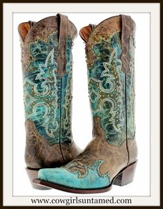 RODEO REBEL BOOTS  Bronze Studded Aqua Turquoise Genuine Leather Snip Toe Cowgirl Boots