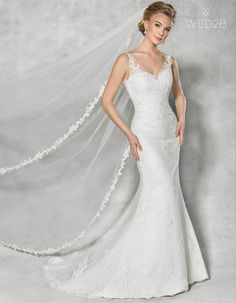 Front view of Diana Illusion wedding dress