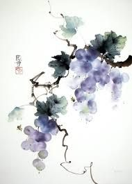 grapes in sumi-e