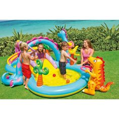 Kids Inflatable Dinosaur Pool W Slide Baby Swimming Activity Center Outdoor Toy #Intex
