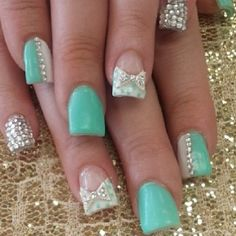 The wedding manicure - the beauty of the bride is in the smallest details - My Nails 3d Nails, Love Nails, How To Do Nails, Pretty Nails, Acrylic Nails, Coffin Nails, Bow Nail Art, Cute Nail Art, Bow Nail Designs