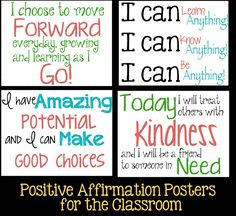 Positive attitude quotes for kids: tween teaching: positive affirmations fo Positive Schwingungen, Positive Affirmations For Kids, Affirmations Positives, Positive Thoughts, Daily Affirmations, Positive Classroom Quotes, Positive School Quotes, Positive Sayings, Positive Mindset