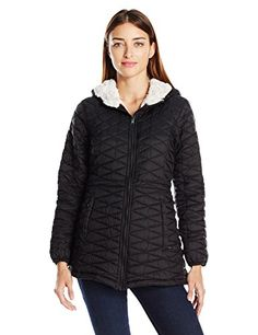 Steve Madden Womens Quilted Glacier Shield Coat BlackIvory M >>> Check out the image by visiting the link.
