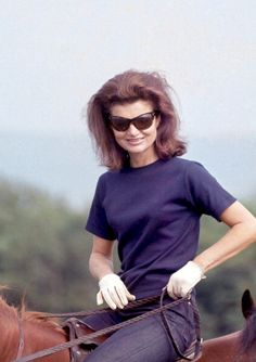 Jackie Kennedy on horseback while on holiday in Woodstown, Ireland, 1967