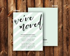 We've Moved Announcement Mint Pink Blue Peach Lavender Purple Elegant Modern Striped Just Moved New Address Card - DIGITAL or PRINTED