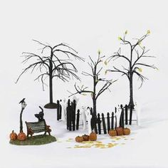 Department 56 Halloween fence and bench set. A great addition to any village.