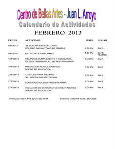 Calendario de Actividades Centro de Bellas Artes de Aguada: Febrero 2013. | sondeaquiprnet