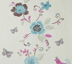 bloemen behang wit met blauw vogels met vlinders 1183-5