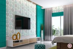 Living Room Decor Styles, Living Room Tv Unit Designs, Wall Design, House Design, Wall Painting Decor, Indian Colours, Cupboard Design, Wall Treatments, Wall Colors