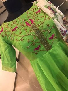 Beautiful parrot green color floor length dress with floral print dupatta. Floor length dress with birds design hand embroidery thread work on yoke. Ready to shipPrice : 6800 INRTo order whatsapp 7013728388 13 September 2018 Embroidery On Kurtis, Hand Embroidery Dress, Kurti Embroidery Design, Embroidered Clothes, Embroidery Thread, Designer Evening Gowns, Designer Dresses, Designer Clothing, New Dress Design Indian