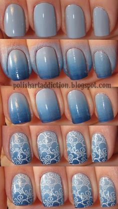 Polish Art Addiction: Cloudy Day Tutorial (I love the ombre look before the design. Fancy Nails, Love Nails, Pretty Nails, Nail Polish Designs, Cute Nail Designs, Gel Polish, Nail Art Diy, Diy Nails, Do It Yourself Nails