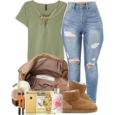 A fashion look from October 2016 featuring H&M tops, UGG Australia ankle booties and Friis & Company tote bags. Browse and shop related looks.