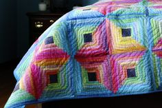 Log cabin quilt....love the colors
