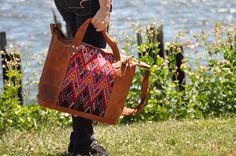 Handmade Leather Weekender Bag Guatemala Bag by Tienditaboutique
