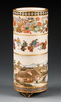 Satsuma Brushpot - Yabu Meizan - Meiji Period