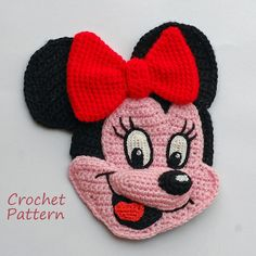 CROCHET PATTERN  Charming Minnie Mouse!!! This crochet applique would be a wonderful addition and decoration to your childrens clothing, different pillows and curtains and other interior.  Crochet it by your own hands!  This pattern contains a step by step description of the work with 26 detailed pictures and 6 schemes and it is available in English or Russian languages. Also this pattern contains the basic techniques of crocheting (schemes) for beginner.  PDF file will be ready to download…