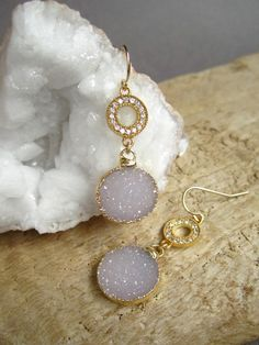 Druzy Earrings  Druzy  Drusy Quartz  Amethyst by julianneblumlo