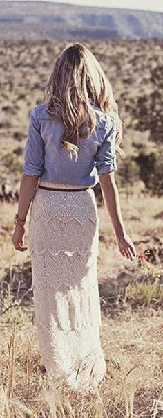 Gorgeous fashion style with lace maxi skirt and chambray blouse