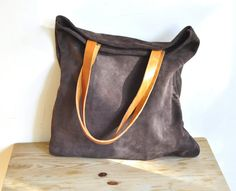 Brown leather tote bag market bag everyday bag by santileather, $139.00