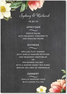Black and floral menu card - so cute! #wedding #weddingmenu #menucard #gardenparty #floral