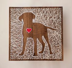 14x14 custom string art of your dogs breed with a lovable heart. Every piece is made to order and has its own unique characteristics including
