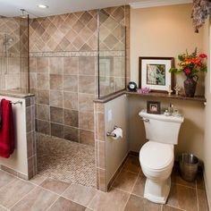 Shower tile idea Doorless Shower Design, Pictures, Remodel, Decor and Ideas - page 16 Bathroom Renos, Master Bathroom, Bathroom Ideas, Shower Ideas, Shower Bathroom, Master Shower, Bathroom Mirrors, Shower Walls, Brown Bathroom