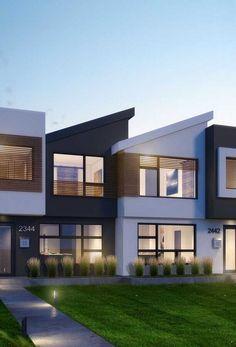 Terrace House Exterior, Townhouse Exterior, Modern Townhouse, Townhouse Designs, Facade House, Bungalow Haus Design, Duplex House Design, Duplex House Plans, House Floor Plans
