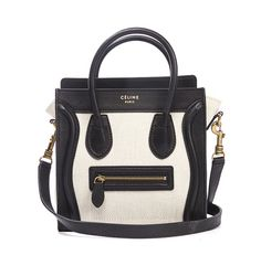 celine black and ivory leather nano mini luggage bag w strap