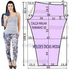 O molde da calça justa não tem valor de costura. Este molde de calça favorece todo o tipo de corpos uma vez que a silhueta fica mais esbelta.