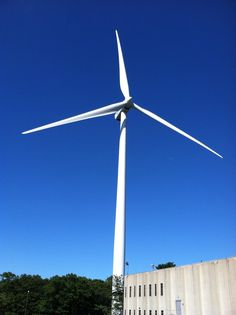 One of three wind turbines in Gloucester, Mass. They are a collaboration between two businesses and the city, saving the city about $500,000.00 a year.